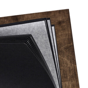 Wooden photo album with 25 black embossed cardboard sheets