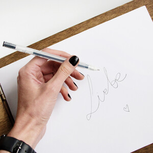 Black gel pen - stylish way of writing on light coloured...