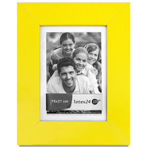 Wooden yellow picture frame 15 x 21 cm image format
