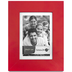 Red picture frame with glass picture format 15 x 21 cm...