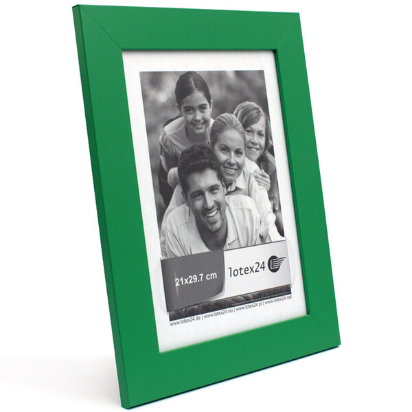 Elegant simple wooden picture frame green with glass pane 21 x 29,7 cm