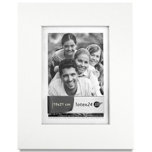 White wooden picture frame 15 x 21 cm image format