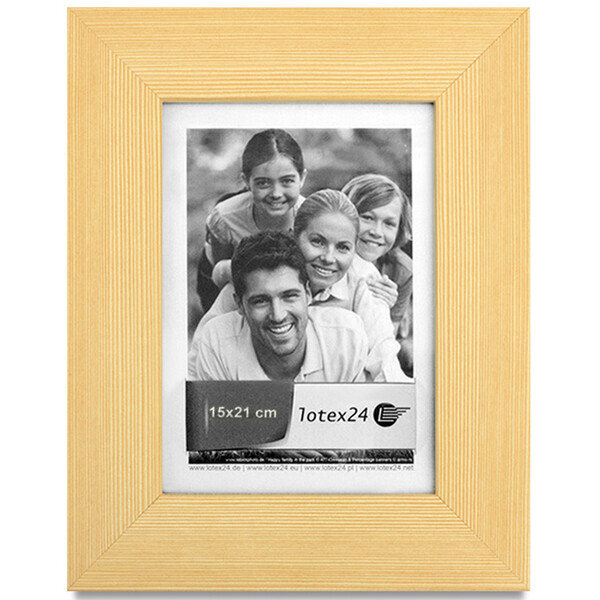 Wooden picture frame light structure with glass pane 15 x 21 cm