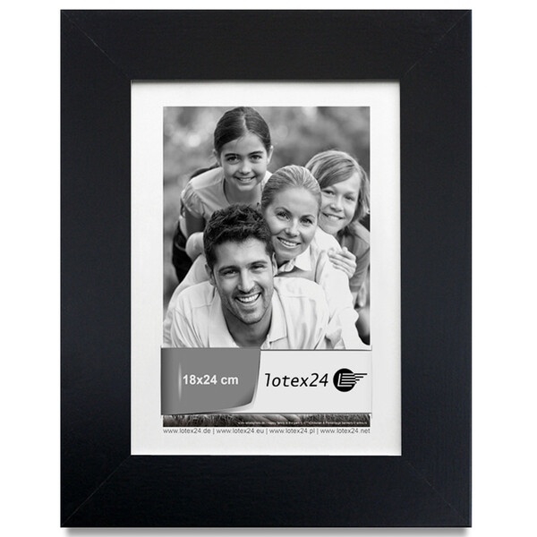 Black picture frame with display stand and glass pane picture format 18 x 24 cm