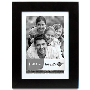 Genuine wooden picture frame in black with glass pane...