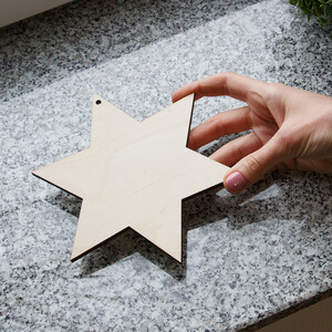 1,5 cm thick wooden star 17 x 17 cm Christmas star...