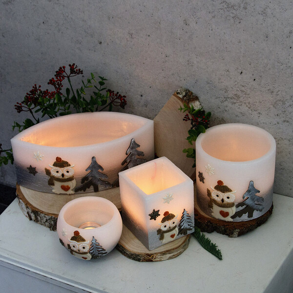 Three wick candle 150 x 150 mm matt white block candle