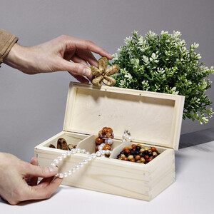 Tea casket with 3 compartments 9.5 x 22.5 x 8 cm natural
