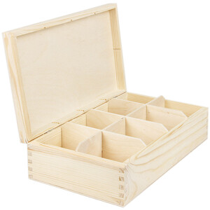 8 compartments tea casket of nature 16.5 x 28.5 x 8 cm