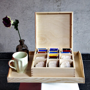 Large tea box with 9 compartments 22.5 x 22.5 x 8 cm...