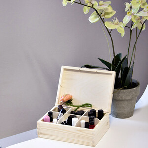 6 compartments tea casket of nature 16.5 x 22.5 x 8 cm
