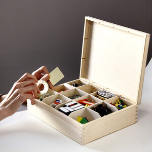 Large tea box with 12 compartments 22.5 x 28.5 x 8 cm...