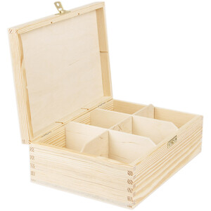 6 compartments tea casket with a lock wooden box of...