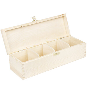 Tea casket with 4 compartment 28.5 x 9.5 x 8 cm natural box