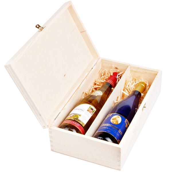 weinflaschen geschenkbox mit deckel und schloss f r 2 flaschen w. Black Bedroom Furniture Sets. Home Design Ideas