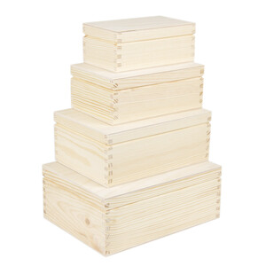 4 pieces insertable wooden boxes rectangular fitting in...