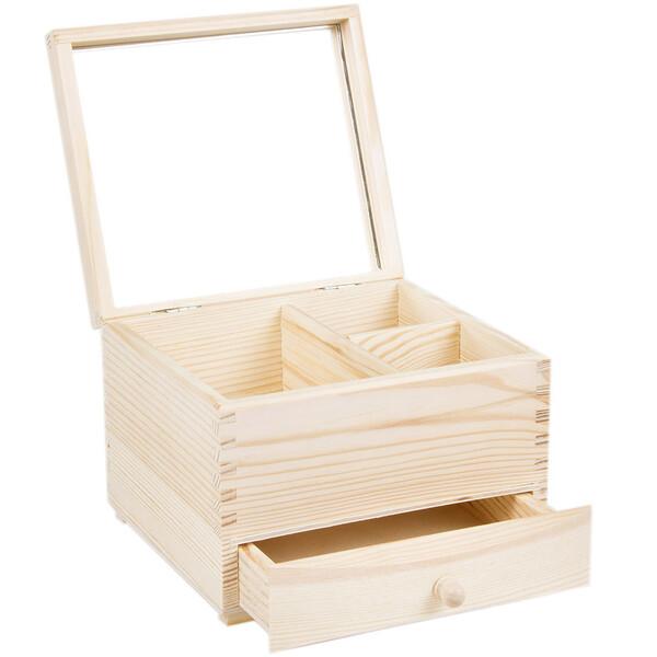 coffret bo te bijoux en bois naturel clair avec miroir. Black Bedroom Furniture Sets. Home Design Ideas