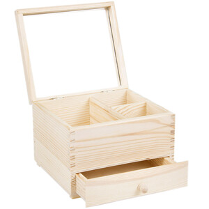 Jewelry box made of natural wood with mirror and one drawer