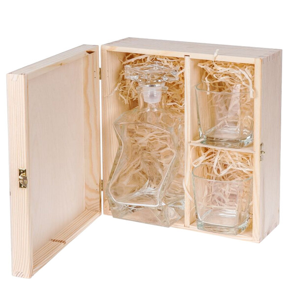 Large wooden box with 3 compartments, storage box