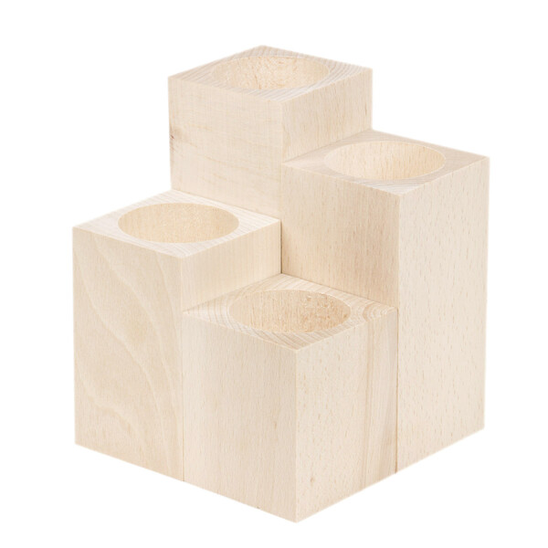 4 pieces of tealight holders made of natural wood rectangular from small to large