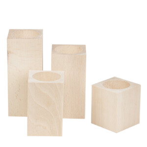 4 pieces of tealight holders made of natural wood...