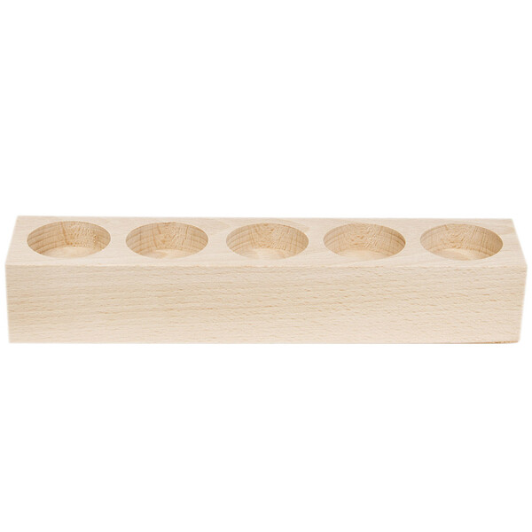 Tealight holder wood with 5 sockets solid natural wood height 4 cm