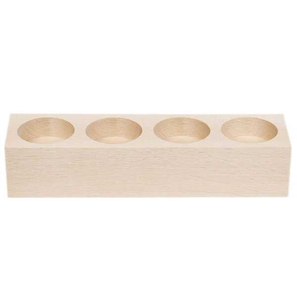 Tealight stand wooden holder for 4 candles made of natural wood height 4 cm