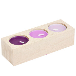Tealight stand wooden holder for 3 tealights natural...