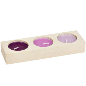 Flat 3 candle holder tealight wooden natural light untreated