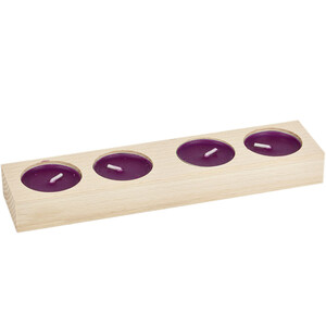Flat candle holder for 4  tealights wooden natural light...