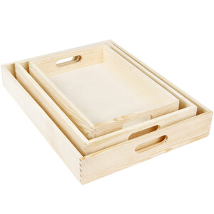 Complete set of 3 wooden trays light wooden set