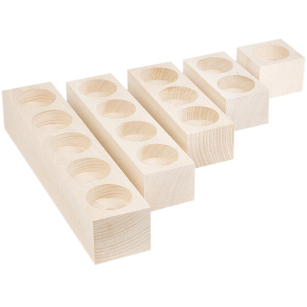 Complete set of 5 natural wooden tealight holders wood natural height 4 cm