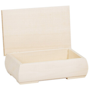 0.6 liters wooden box jewlery hinged lid IGA 2 rounded...