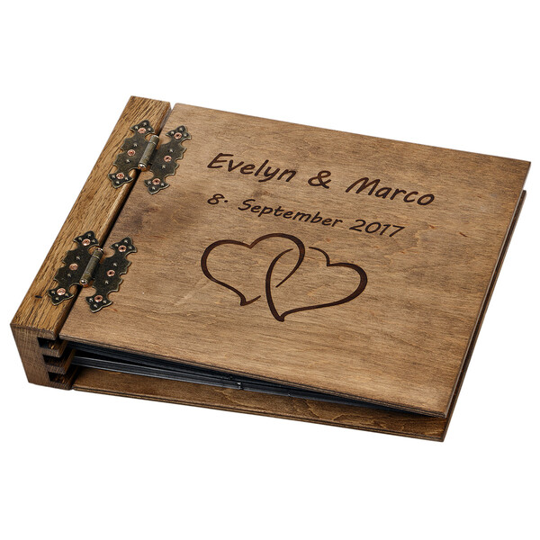 75-sheet thick wooden photo album with your DARK engraving, your personal book