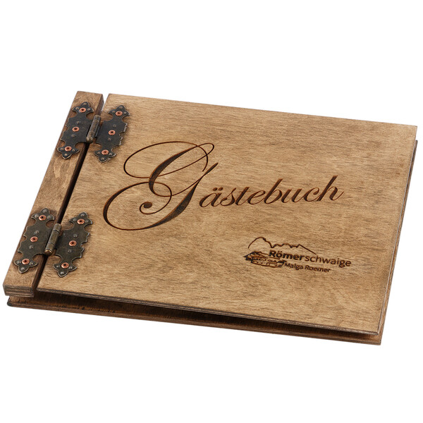 Custom made DARK lasered wooden guestbook 200 pages
