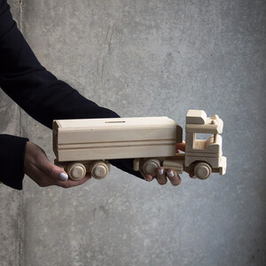 Wooden moneybox  lorry truck car