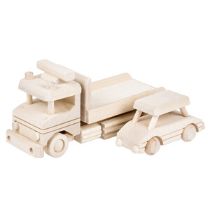 Wooden towing car wooden car decoupage