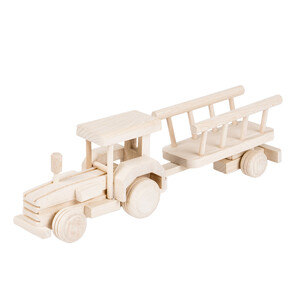 Wooden tractor trailer decoupage wooden car wooden toy