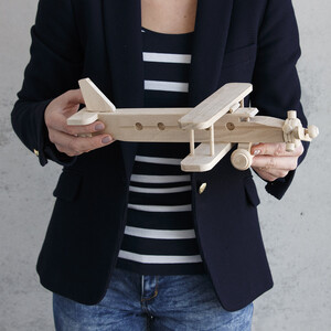 Biplane wooden toy airplane with 2 wings
