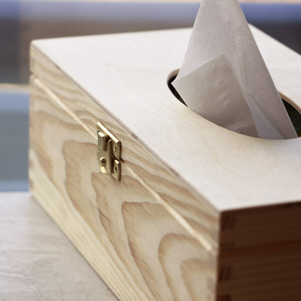 Tissue box cosmetic tissue dispenser decoupage hinged lid with magnetic catch
