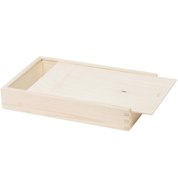 2 compartments rectangular wooden box storage box