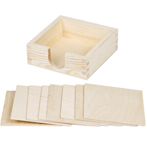 Set of 9 pieces square natural wooden coasters