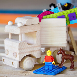 Tipper with trailer wooden toy tipper construction site...