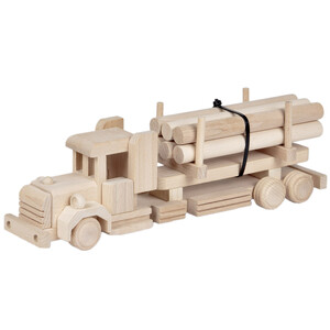 Wooden truck logging truck with logs toy truck wooden lorry