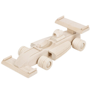 Wooden car formula-1 car F1 racing car wooden toy decoupage