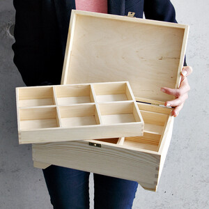 Wooden box with lock 2 inserts 30 x 20 cm wooden box...