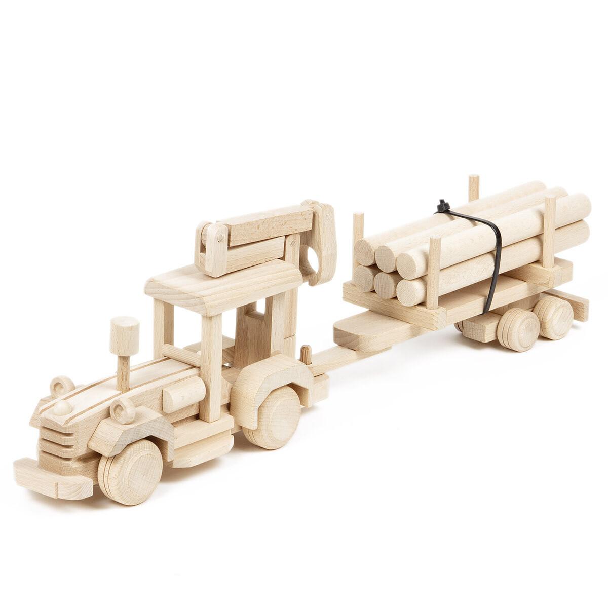 Holz Fahrzeuge Traktor Baggerlader Harvester Frontlader Holzspielzeug