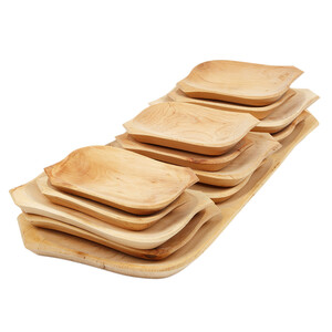 Large wooden serving platter 12 different wooden plates...