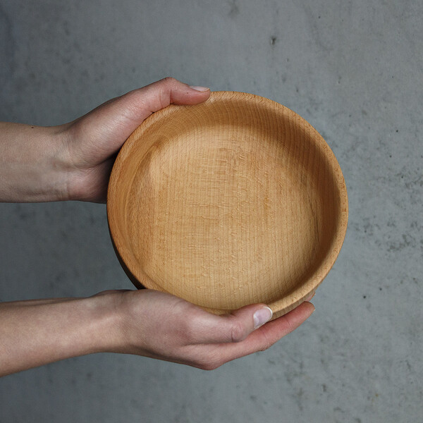 0,6 liter wooden bowl 16,5 x 14,5 x 6 cm wooden bowl salad bowl