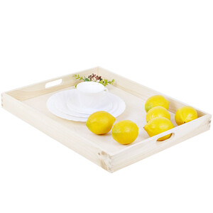 Wooden tray 50 x 40 cm birch wood bright serving tray